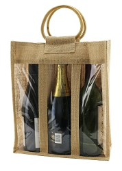 Jute Vino Sack, 3 Bottles, with Poly Window formerly 10-6267