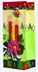 Holiday Candles 3D Wine Gift Bag