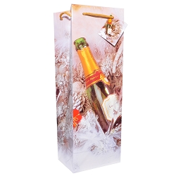 Champagne Christmas Holiday Wine Gift Bags, 12 bags in Pack