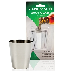 2 oz. Stainless Steel Shot Glass, lined (Carded)