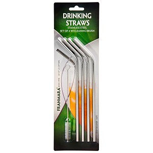 Stainless Steel Drinking Straws, Set of 4 with Cleaning Brush formerly 34-8298set